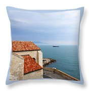 View Of Mediterranean In Antibes France Throw Pillow