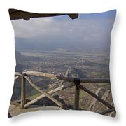 View Of Meteora From The Monastery   #9722 Throw Pillow