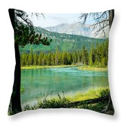 View Of Mistaya Between The Trees Throw Pillow