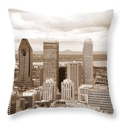 View Of Montreal In Sepia Throw Pillow