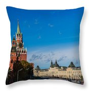 View Of Moscow Kremlin Towers And Red Square In Autumn Throw Pillow