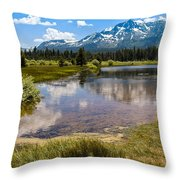 View Of Mount Tallac From Taylor Creek Beach Lake Tahoe Throw Pillow