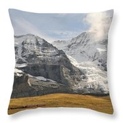 View Of Mt Eiger And Mt Monch, Kleine Throw Pillow