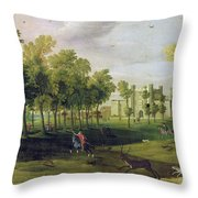 View Of Nonsuch Palace In The Time Throw Pillow