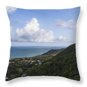 View Of Ocean And Punta Tuna In Puerto Rico Throw Pillow