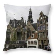 View Of Oude Kerk Amsterdam Throw Pillow