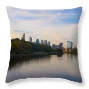 View Of Philadelphia From The Girard Avenue Bridge Throw Pillow