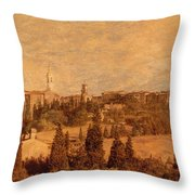 View Of Pienza And The Tuscan Landscape Throw Pillow