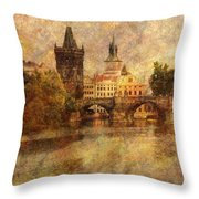 View Of Prague Throw Pillow