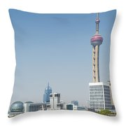View Of Pudong In Shanghai China Throw Pillow