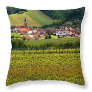 View Of Rodern From The Vineyards Of Alsace Throw Pillow
