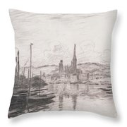 View Of Rouen Throw Pillow