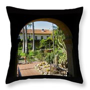 View Of Santa Barbara Mission Courtyard Throw Pillow