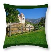 View Of Santa Barbara Mission Throw Pillow