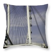 View Of Spokes Of The Singapore Flyer Along With The Base Section Throw Pillow