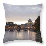 View Of St Peter's Basilica And Saint Angel Bridge Throw Pillow