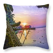 View Of Sunrise From A Houseboat Throw Pillow