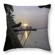 View Of Sunrise From The Window Of A Houseboat Throw Pillow