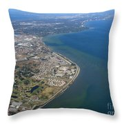 View Of Tampa Harbor Before Landing Throw Pillow