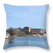 View Of The Art Museum And Waterworks In Philadelphia Throw Pillow