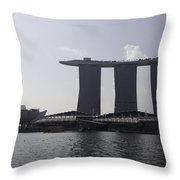 View Of The Artscience Museum And The Marina Bay Sands Resort Throw Pillow