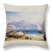 View Of The Bay Of Naples Throw Pillow