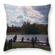View Of The Creek From Catskill Point Throw Pillow