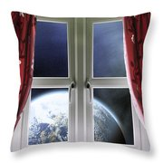 View Of The Earth Through A Window With Curtains Throw Pillow