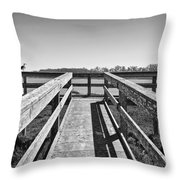 View Of The Elkhorn Slough From A Platform.  Throw Pillow