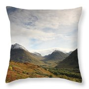 View Of The Glencoe Mountains Throw Pillow