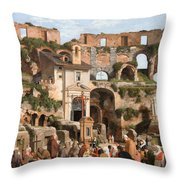 View Of The Interior Of The Colosseum Throw Pillow