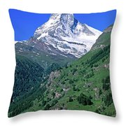 View Of The Matterhorn And The Town Throw Pillow