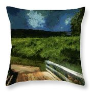 View Of The Night Sky From The Old Bridge Throw Pillow