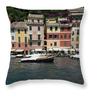 View Of The Portofino, Liguria, Italy Throw Pillow