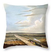 View Of The Railway Across Chat Moss Throw Pillow
