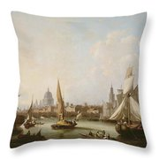View Of The River Thames  Throw Pillow