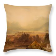 View Of Thebes Throw Pillow