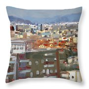 View Of Tirana From Dajti Mountain Throw Pillow