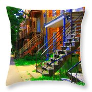 View Of Verdun Steps Stairs Staircases Winding Through Summer  Montrealstreet Scenes Carole Spandau Throw Pillow
