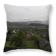 View Of Wallace Monument And Houses And Surrounding Areas Throw Pillow