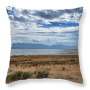 View Of Wasatch Range From Antelope Island Throw Pillow