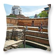 View Of White Temple From Pool Area Behind Bhaktapur Durbar Square In Bhaktapur-nepal - Throw Pillow