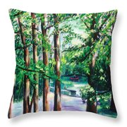 View Of Woodside Lake Throw Pillow