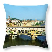 View On Ponte Vecchio From Uffizi Gallery Throw Pillow