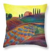 View On The Olive Grove Throw Pillow