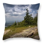 View On Top Of Cadilac Mountain In Acadia National Park Throw Pillow