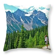 View On Trail To Lake Agnes In Banff Np-alberta Throw Pillow
