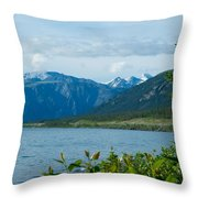 View One Kluane Lake From Cottonwood Campground Near Destruction Bay-yk   Throw Pillow