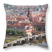 View Onto The Town Of Wuerzburg - Germany Throw Pillow