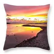 View Opposite Of Mackinac Bridge From Mcgulpin Point At Sunset. Throw Pillow